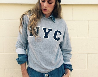 Vintage grey NYC sweatshirt size xs or small med or lrg