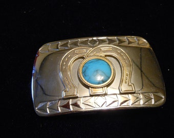 Vintage Silver Belt Buckle with Turquoise Color Stone