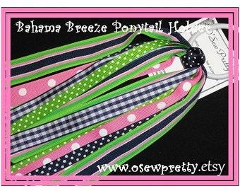 Ponytail streamers, Ribbon ponytail holders,Navy and pink hair bows,Bahama Breeze Ponytail Streamer