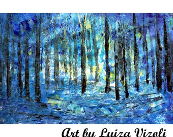 BLUE Acrylic Original Abstract Painting WINTER FOREST Palette Knife  Trees Landscape Artwork by Luiza Vizoli