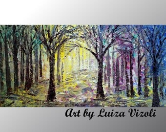 ORIGINAL SPRING PAINTING Abstract Oil Painting on Canvas Trees Landscape Art in pink, yellow, green, blue colors