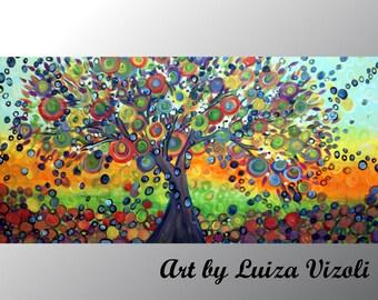 OLIVE TREE Large Painting Landscape Art Canvas Embellished Giclee by Luiza Vizoli