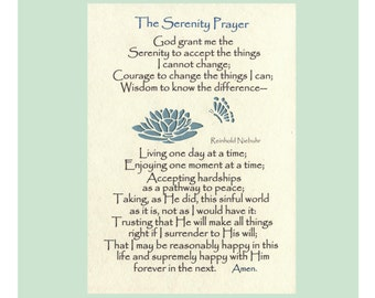 Serenity Prayer Long Version God grant me Wall Art Christian Prayer Recovery Prayer Lily Butterflies Paper 5X7