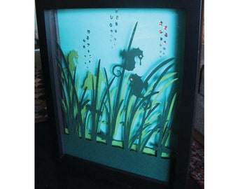 3D Seahorses Underwater Paper Cut Art Wall Art Crystal Eyes Shadow Box 8X10