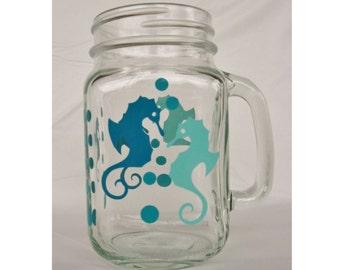 Seahorses Mason Jar 16 oz Mug Vinyl Decal Mason Jar beverage glassware