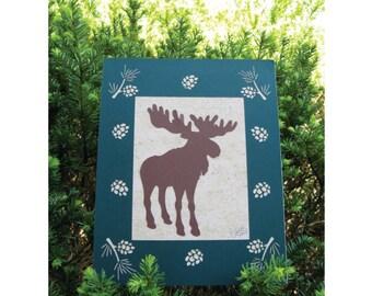 Moose Silhouette Wall Art Pines Cone Border Paper Cut Art dk grn 8X10 unframed
