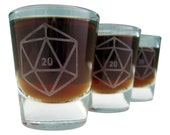 Game Dice D20 | Etched Whiskey Shot Glass