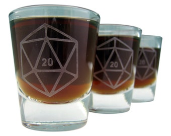 D20 Dice | Etched Shot Glass | DM Gift | Dungeon Master | RPG | Dungeons and Dragons | Dice