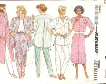 1980s Sewing Pattern - 1980s Swing Coat Pattern - 80s Shirt Dress Sewing Pattern - Fashion Butterick 3755 - UNCUT