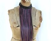 Lux Long Fringe necklace, Fringe Bib, Dark Lavender, Gypsy, Boho, Opulent Tribal: Renegade Icon Designs