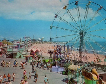 Santa Cruz California Beach Boardwalk Vintage Postcard.  Digital Download.  Image, Transfer, carnival, fun, play, sand, sea, game, #15P2/ES