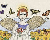 You are My Sunshine, colorized pen and ink print, 2nd in Angel Series