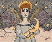 She Hung the Moon, 4th in my series of pen and ink angels