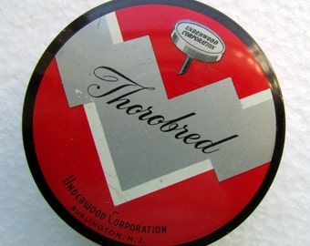 Vintage Typewriter Ribbon Art Deco Tin Quality Red  Black Silver Thorobred Underwood