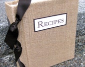 Burlap Recipe book for 8.5x11 size printed recipes-choose your own ribbon color