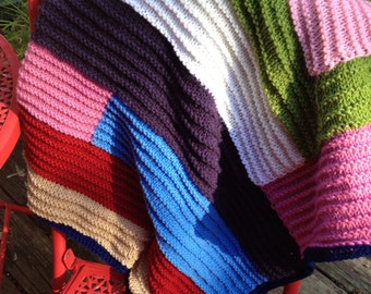Ready to ship - Hand knit modern log cabin baby, toddler, adult throw, travel, car, stroller or cot blanket.