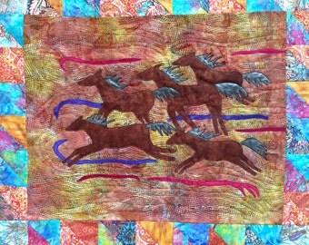 Horse Art Quilt, Wild Horse Quilt, Modern Abstract Quilt, Fiber Art Wall Hanging, Wall Hanging, Horse Lover Gift, Art Quilt