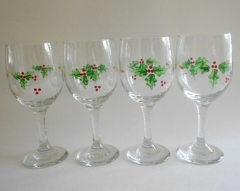 Holly Leaves Wine Glasses Set of 4 Hand Painted Wine Glasses Holly Leaves Barware Holly Stemware Clear Glass Holly Leaves Kitchen