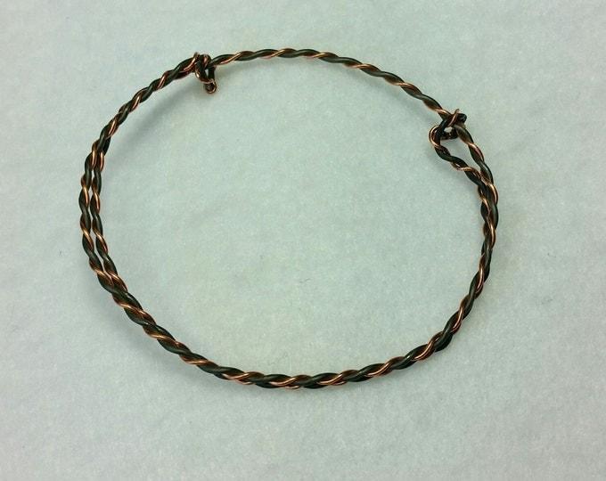 Unisex Twisted Wires Adjustable Bangle Bracelet