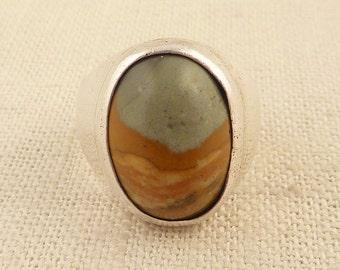 Size 8 Vintage Southwestern Signed Sterling Ring with Large Landscape Agate Center Stone