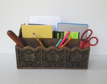 Faux Bois Letter Pencil Bill Holder
