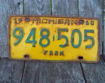 Michigan Farm License Plate 1960