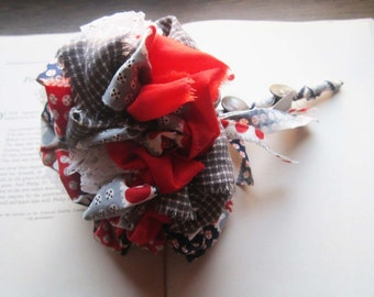 Vintage Fabric Wedding Bouquet * Fabric Pom Bouquet * Handmade Fabric Flower Pom * 1950's Fabric * Gray * Red * Navy Blue