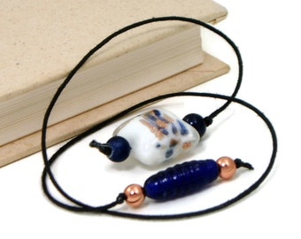 Book Thong Beaded Bookmark, Book Cord, Book String, Gift under 5, Cobalt, Navy Blue, Copper, Book Club, Teacher Gift