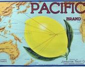 1917 Vintage Bright Kitchen Art. Pacific Brand Label - Map Honolulu, Johnston Fruit Co., Sta Barbara, California