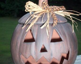 Primitive Ceramic Halloween Jack o Lantern Pumpkin Lamp Light