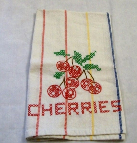 Red Kitchen Hand Towels: Kitchen Dish Towel Hand Embroidered Dish Towels Cherries