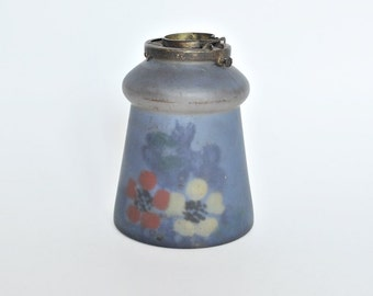 Blue Floral Reverse Painted Glass Lamp Shade with Fitting