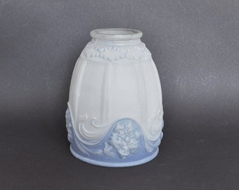 Vintage Blue and Clear Satin Glass Lamp Shade