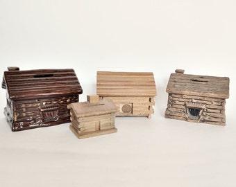 Instant Collection of 4 Vintage Log Cabin Banks