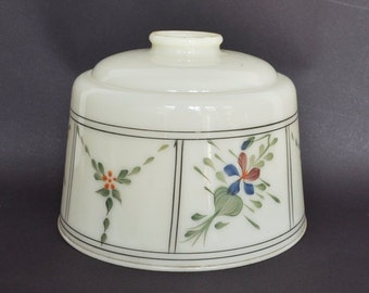 Antique Floral Hand Painted Glass Lamp Shade - 2 Available