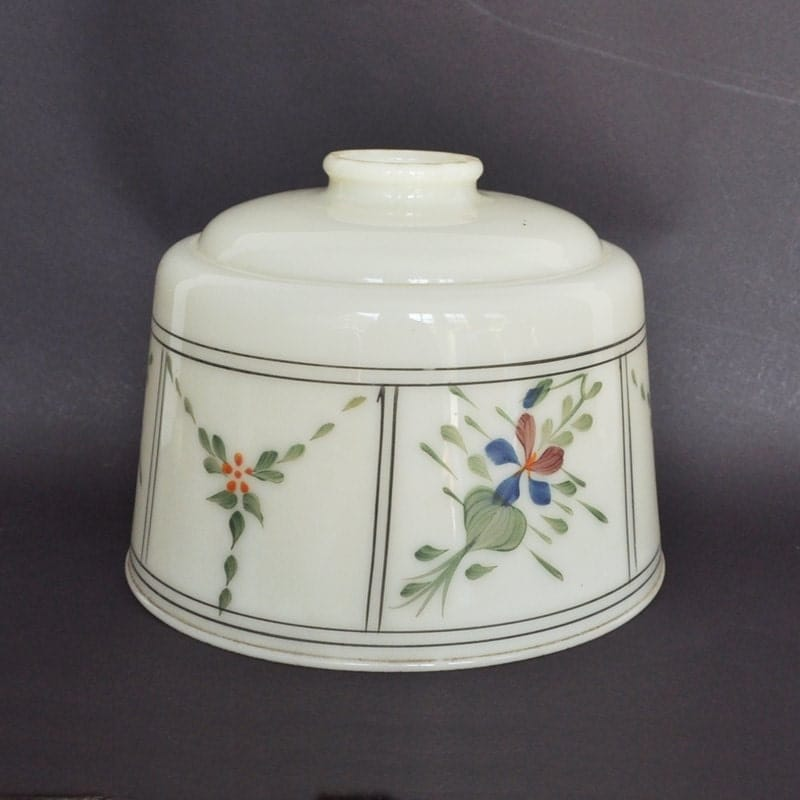 Hand Painted Lamp Shades: Antique Floral Hand Painted Glass Lamp Shade 2 Available