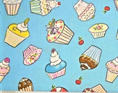 COUPON Sale - Free Spirit, Dena Designs, Tiddlywinks, Cupcakes, Blue, 100% Cotton Quilt Fabric, Quilting Fabric, SELECT A SIZE