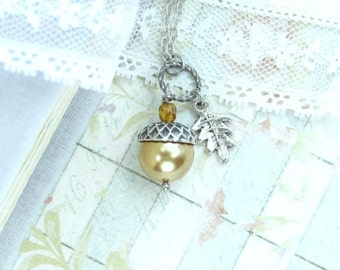 Forest Jewelry Acorn Necklace Autumn Jewelry Nature Necklace Acorn Jewelry Gold Acorn Woodland Necklace