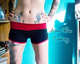 Steampunk Ruffle SHORTS - Hippie Bohemian Gothic Grunge romper bottoms - S/M OOAK