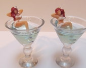 Tiny Martini Earrings w/ Burlesque Pin Up Girl Vixen in White Sparkly Bikini Reclined inside the Glass