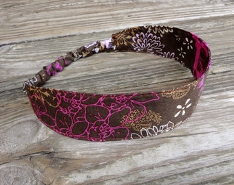 Fabric Headband with Elastic: Pink and Brown Print