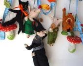 An Original  Needle Felted Halloween Hansel and Gretel Garland Handmade