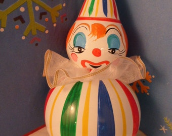 Whimsical Figural Hand Blown & Painted Circus Clown Glass Ornament - Italy