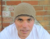 men's short summer beanie/ khaki cotton linen hemp blend crochet- made to order
