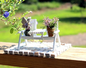 Miniature lavender flowers & fern flower pot-Hand painted-White garden bench-Fairy with butterfly-ALL 3 Pieces 1 price-Doll house miniatures
