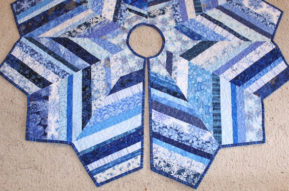 """Large Blue Christmas Tree Skirt Quilt,  54"""" diameter - Chevron Style, Snowflakes, Holiday Patchwork, String Quilt, Blue White Tree Skirt"""
