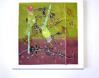 Mixed Media Fabric Sari Collage  Birds on Green Trellis