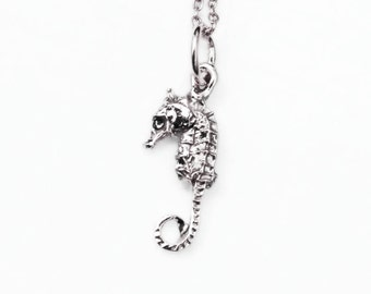 READY TO SHIP-Tiny Solid Sterling Silver Seahorse Necklace