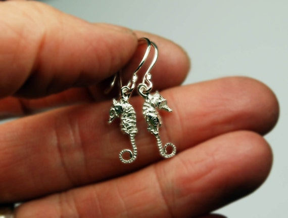 Sterling Silver Tiny Dangling Seahorse Earrings