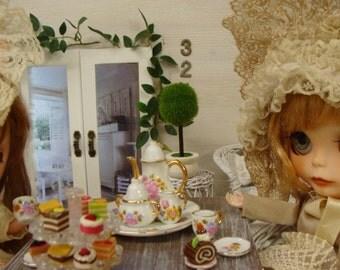 Blythe Tea Set Beautiful Fancy Pink Roses  Shabby Chic Dollhouse China Tea Set Plus extra dessert plates
